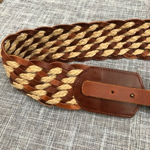 Tommy Bahama leather & jute woven belt brown
